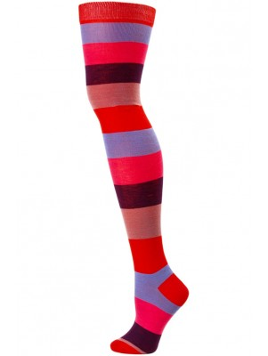 Yelete Women's Thick Stripe Over the Knee Socks - 1 Pair - Red Multi