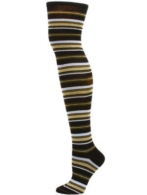 Yelete Dark Stripe Over the Knee Socks - 1 Pair - Black/Yellow Stripe