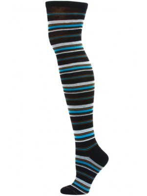 Yelete Dark Stripe Over the Knee Socks - 1 Pair - Blue Stripe