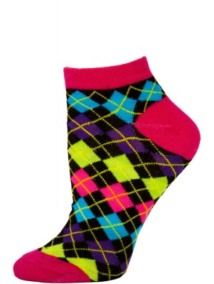 Chatties Women's Neon Argyle Low Cut Socks - 1 Pair - Pink/Black Mini Argyle