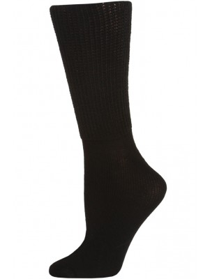 Extra Wide Women's Athletic Crew Socks - 1 Pair - Black