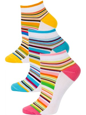 Yelete Pastel Stripe Low Cut Socks - 3 Pairs - Pink. Blue, Orange Multi