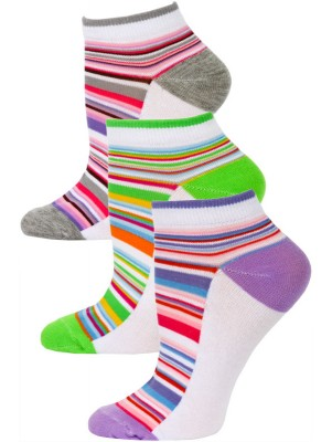 Yelete Pastel Stripe Low Cut Socks - 3 Pairs - Purple, Green, Grey Multi