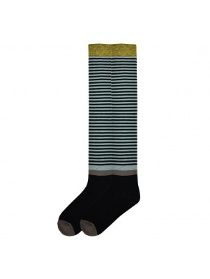K. Bell Women's Vintage Stripe Over the Knee Socks - Black and Blue