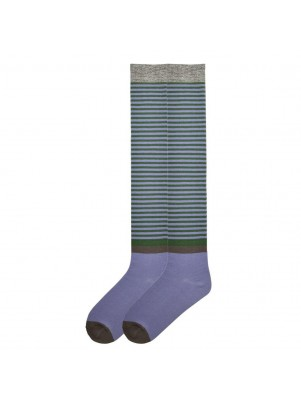 K. Bell Women's Vintage Stripe Over the Knee Socks - Blue and Green