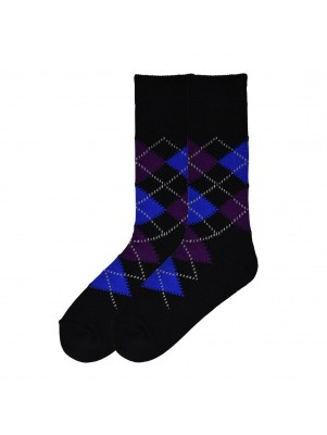 K. Bell Men's Dandy Argyle Crew Socks - Blacktop