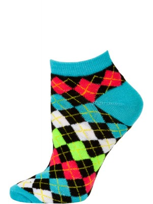 Chatties Women's Neon Argyle Low Cut Socks - 1 Pair - Blue/Black Mini Argyle