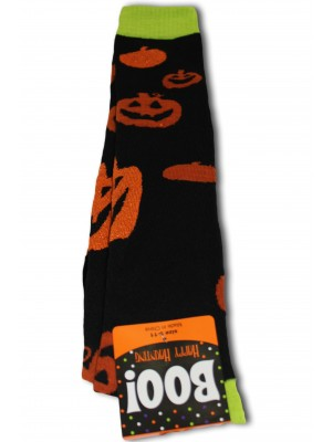 Happy Halloween Women's Knee Socks - 1 Pair - Black - Pumpkin