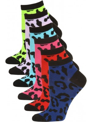 Mamia Neon Cheetah Low Cut Kids Socks - 6 Pairs - Neon Cheetah Multi