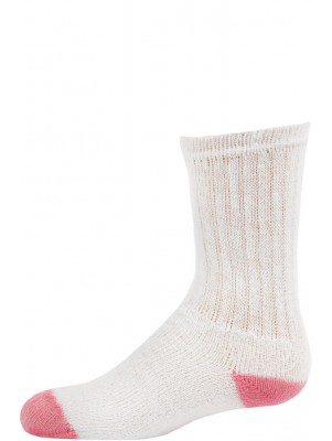 American Made Kid's Light Pink Heel and Toe Crew Socks - 3 Pairs