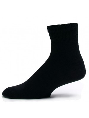 Sole Pleasers Men's Black Diabetic Quarter Socks - 3 Pairs