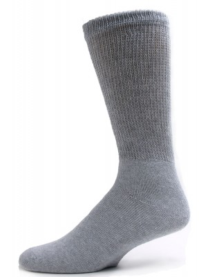 Sole Pleasers Men's Grey King Size Diabetic Crew Socks - 3 Pairs