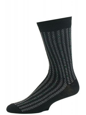John Weitz Men's Patterned Dress Socks - 1 Pair Black with Dotted Stripes