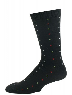 John Weitz Men's Patterned Dress Socks - 1 Pair - Black with Multicolor Squares