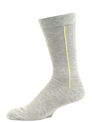 John Weitz Men's Patterned Dress Socks - 1 Pair - Grey with Yellow Stripes