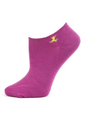 Chatties Women's Microfiber No Show Socks - 1 Pair - Mulberry Purple Frogs