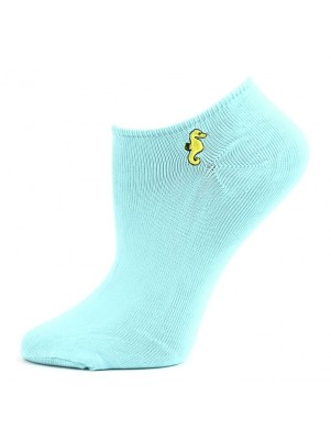 Chatties Women's Microfiber No Show Socks - 1 Pair - Light Blue Seahorse