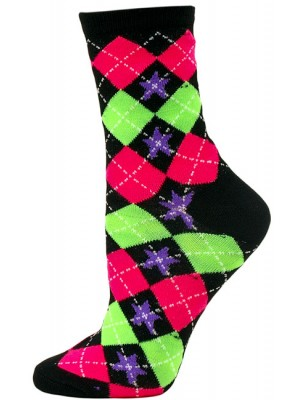 Neon Daze Women's Patterned Crew Socks - 1 Pair - Black Argyle