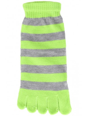 Funny Feet Bright Stripe Toe Socks - 1 Pair - Lime Green/Grey