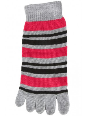 Funny Feet Bright Stripe Toe Socks - 1 Pair - Grey/Hot Pink/Black