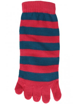 Funny Feet Bright Stripe Toe Socks - 1 Pair - Hot Pink/Teal