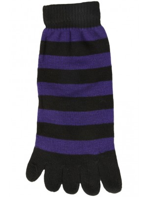 Funny Feet Bright Stripe Toe Socks - 1 Pair - Black/Purple