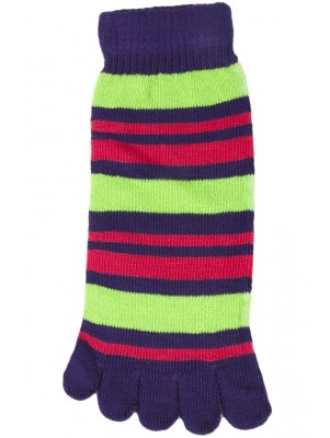 Funny Feet Bright Stripe Toe Socks - 1 Pair - Purple/Green/Hot Pink Multi