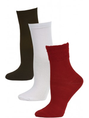 HB Women's Plush Cuff Dress Socks - 3 Pairs - Red/White/Black
