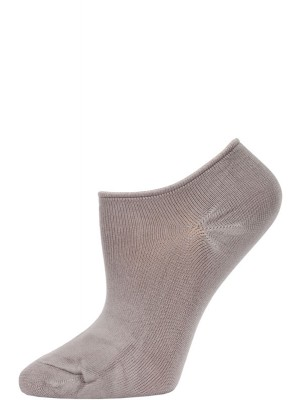 Chatties Women's Solid Color Microfiber No Show Socks - 1 Pair - Silver/Grey