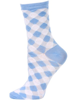 Chatties Women's Gingham Crew Socks - 1 Pair - Light Blue