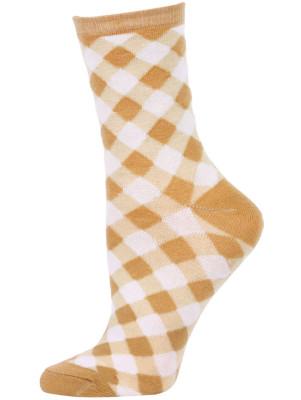 Chatties Women's Gingham Crew Socks - 1 Pair - Tan