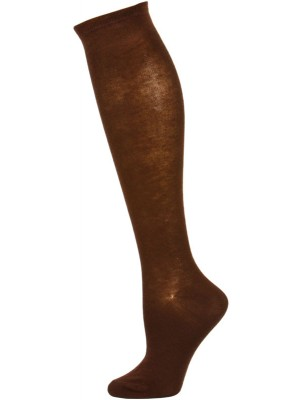 Chatties Women's Solid Knee Socks - 1 Pair - Brown