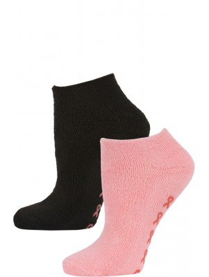 Breast Cancer Awareness Women's Terry Slipper Socks - 2 Pairs - Pink/Black