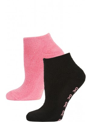 Breast Cancer Awareness Women's Terry Slipper Socks - 2 Pairs - Black/Hot Pink