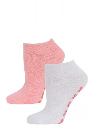 Breast Cancer Awareness Women's Terry Slipper Socks - 2 Pairs - White/Pink
