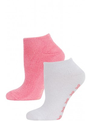 Breast Cancer Awareness Women's Terry Slipper Socks - 2 Pairs - White/Hot Pink
