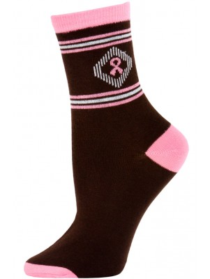 Pink Ribbon Women's Patterned Crew Socks - 1 Pair
