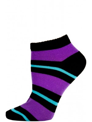 Chatties Women's Bright Stripe Low Cut Socks - 1 Pair - Black/Purple/Blue