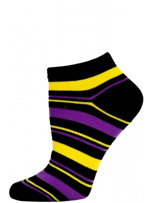 Chatties Women's Bright Stripe Low Cut Socks - 1 Pair - Black/Yellow/Purple