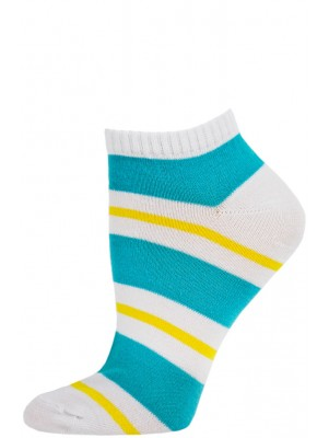 Chatties Women's Bright Stripe Low Cut Socks - 1 Pair - White/Blue/Yellow