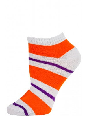 Chatties Women's Bright Stripe Low Cut Socks - 1 Pair - White/Orange/Purple