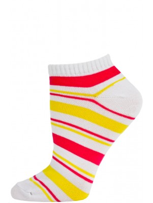 Chatties Women's Bright Stripe Low Cut Socks - 1 Pair - White/Pink/Yellow
