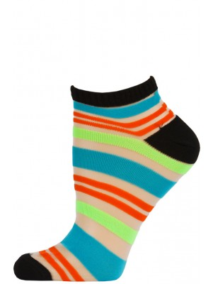 Chatties Women's Bright Stripe Mesh Low Cut Socks - 1 Pair - Black with Blue/Orange/Green