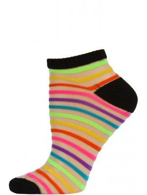Chatties Women's Bright Stripe Jelly Low Cut Socks - 1 Pair - Black with Mini Rainbow Stripes