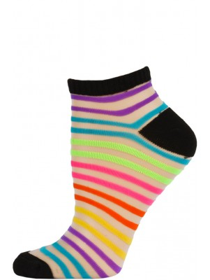 Chatties Women's Bright Stripe Mesh Low Cut Socks - 1 Pair - Black with Rainbow Double Stripes