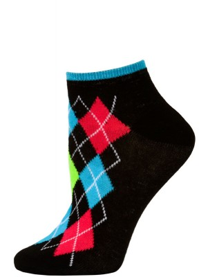 Chatties Women's Neon Argyle Low Cut Socks - 1 Pair - Black/Blue Argyle