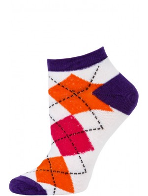 Chatties Women's Neon Argyle Low Cut Socks - 1 Pair - Purple/White Large Argyle