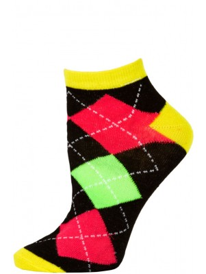 Chatties Women's Neon Argyle Low Cut Socks - 1 Pair - Yellow/Black Large Argyle