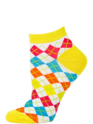 Chatties Women's Neon Argyle Low Cut Socks - 1 Pair - Yellow/White Mini Argyle