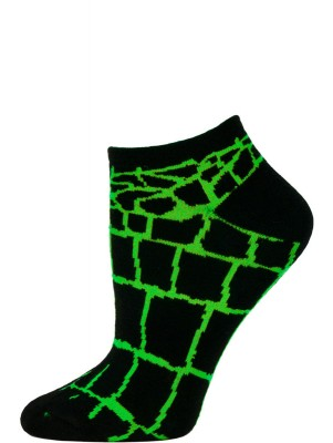 Wild Thing Women's Animal Print No Show Socks - 1 Pair - Black/Green Snake